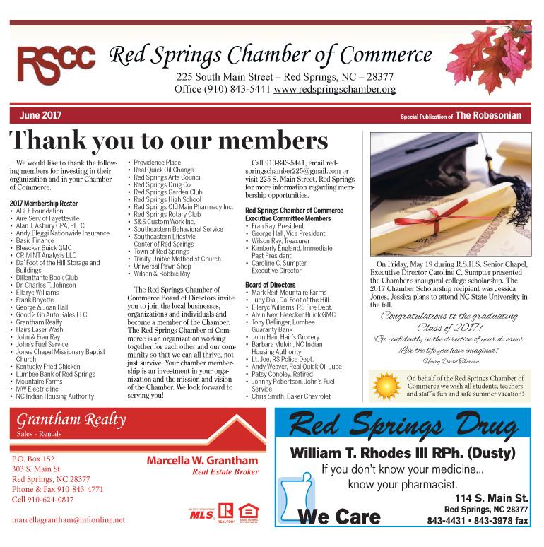 Red Springs Chamber Newsletter June 2017
